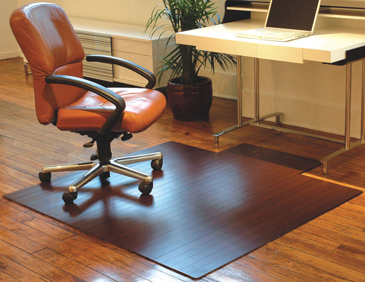 """55"""" X 57"""" Bamboo Roll Up Chair Mat With Tongue By Anji Mountain"""