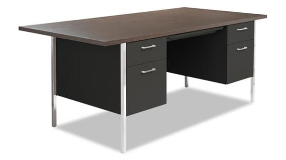 "Steel & Metal Desks Alera 72"" x 36"" Double Pedestal Steel Desk"