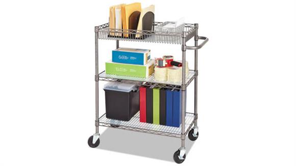 Utility Carts Alera Three-Tier Wire Rolling Cart