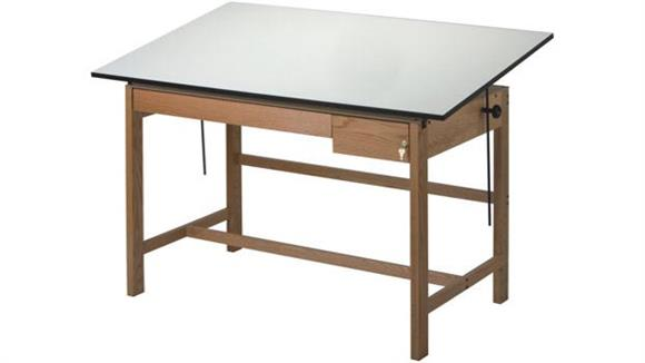 "Drafting Tables Alvin Titan II 60"" Solid Oak Drafting Table with Drawers"