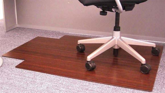 "Chair Mats Anji Mountain 36"" x 48"" Bamboo Roll Up Chair Mat with Tongue"