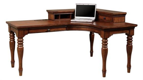 L Shaped Desks Aspen Home Charlestown Curved L Shaped Desk with Corner Hutch