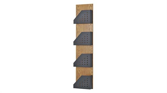 Magazine & Literature Storage Buddy Products Wood Wall Display Rack with 4 Steel Pockets