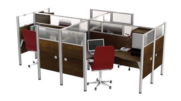 Workstations & Cubicles Bestar Office Furniture Four Person Workstation with Full Wall