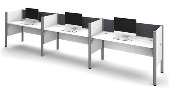 Workstations & Cubicles Bestar Office Furniture Triple Side-by-Side Workstation - White with Tack Boards