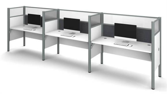 Workstations & Cubicles Bestar Office Furniture Triple Side-by-Side Workstation - White with Tack Boards and Acrylic Glass Privacy Panels