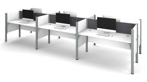 Workstations & Cubicles Bestar Office Furniture Six Workstation - White with Tack Boards