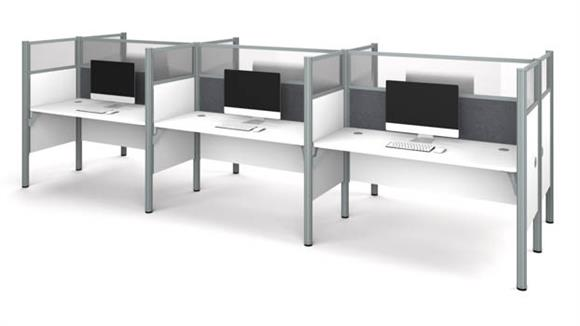 Workstations & Cubicles Bestar Office Furniture Six Workstation - White with Tack Boards and Acrylic Glass Privacy Panels