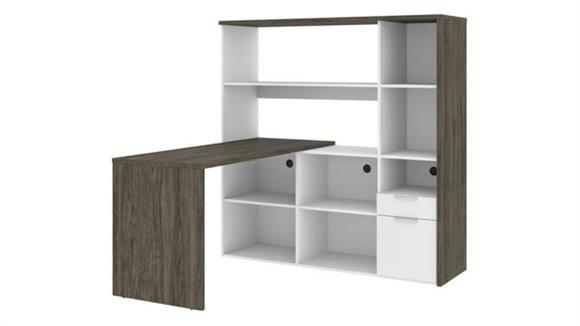 "L Shaped Desks Bestar Office Furniture 60""W L-Shaped Desk with Hutch"