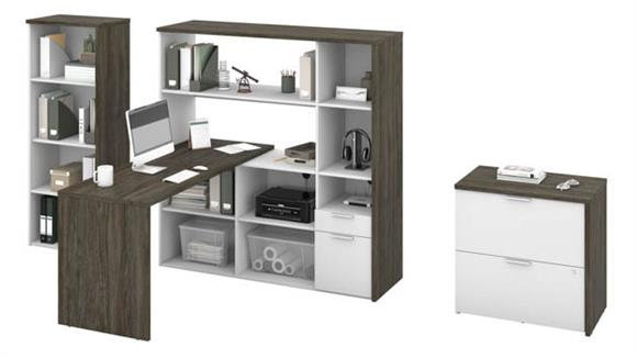 "L Shaped Desks Bestar Office Furniture 60""W L-Shaped Desk with Bookcase and Filing Cabinet"