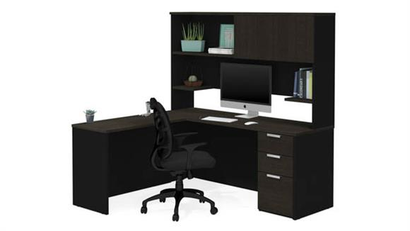 L Shaped Desks Bestar Office Furniture L-Shaped Desk with Hutch