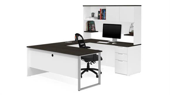 U Shaped Desks Bestar Office Furniture U-Shaped Desk with Hutch