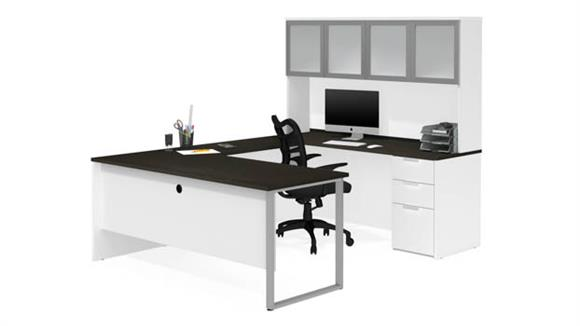 U Shaped Desks Bestar Office Furniture U-Sshaped Desk with Frosted Glass Door Hutch