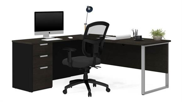 L Shaped Desks Bestar Office Furniture L-Shaped Desk with Metal Legs