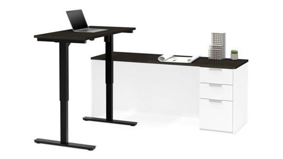 Adjustable Height Desks & Tables Bestar Office Furniture Height Adjustable L-Shaped Desk