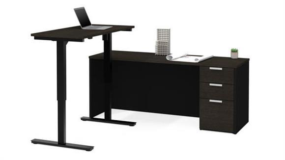 Adjustable Height Desks & Tables Bestar Office Furniture Height Adjustable L-Shaped Desk