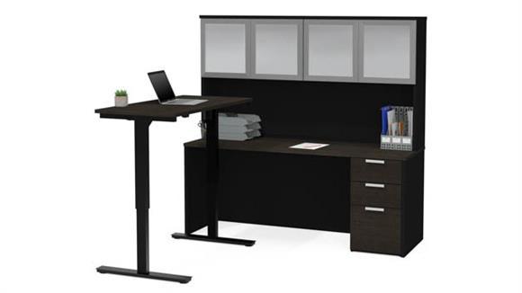 Adjustable Height Desks & Tables Bestar Office Furniture Height Adjustable L-Desk with Frosted Glass Door Hutch