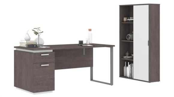 "Computer Desks Bestar Office Furniture 66""W Computer Desk and Bookcase"