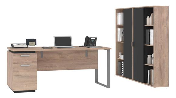 "Computer Desks Bestar Office Furniture 66""W Computer Desk and 2 Bookcases"