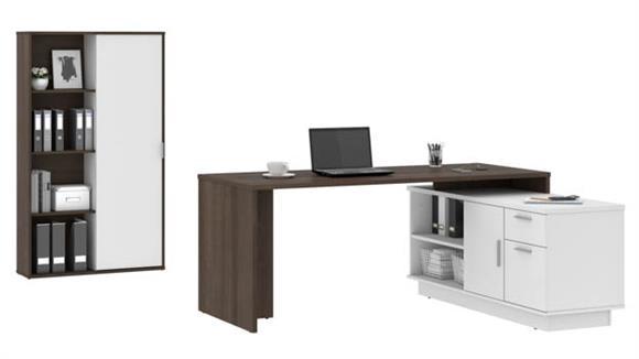 """L Shaped Desks Bestar Office Furniture 71""""W L-Shaped Desk and Bookcase"""