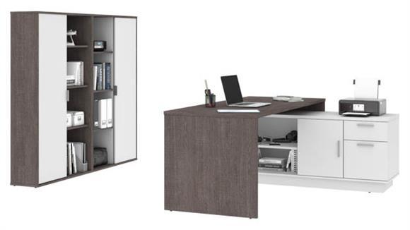 "L Shaped Desks Bestar Office Furniture 71""W  L-Shaped Desk and 2 Bookcases"
