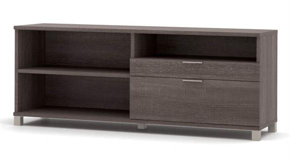 "Office Credenzas Bestar Office Furniture 71""W Credenza with 2 Drawers"