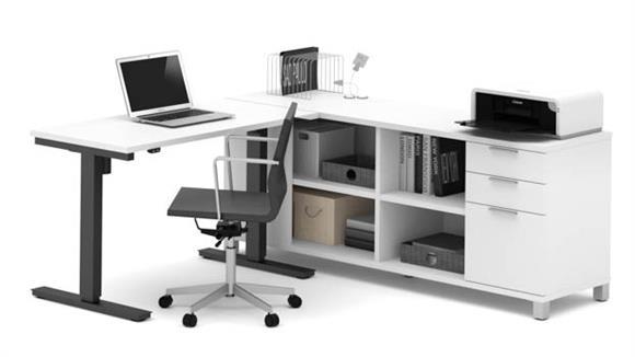 L Shaped Desks Bestar Office Furniture L-Desk with Electric Height Adjustable Table
