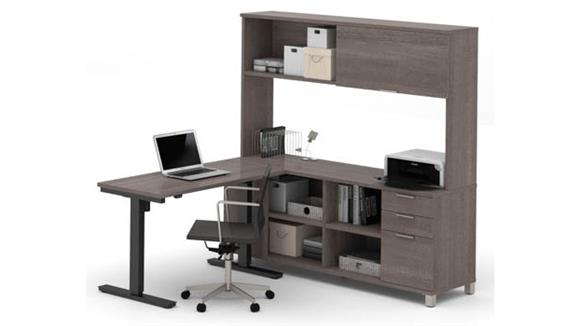 L Shaped Desks Bestar Office Furniture L-Desk with Hutch and  Electric Height Adjustable Table