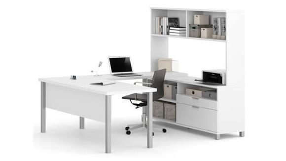 U Shaped Desks Bestar Office Furniture U Shaped Desk with Hutch