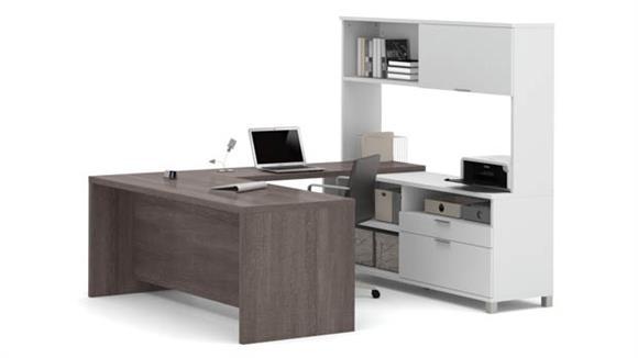 U Shaped Desks Bestar Office Furniture U Shaped Desk with Hutch