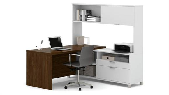 L Shaped Desks Bestar Office Furniture L Shaped Desk with Hutch