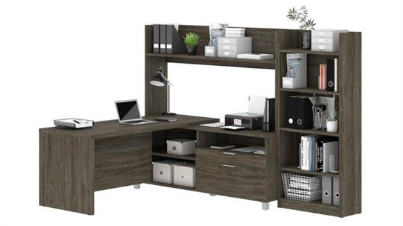 "L Shaped Desks Bestar Office Furniture 71""W L-Desk with Bookcase"