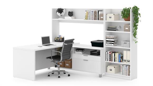 L Shaped Desks Bestar Office Furniture L-Desk with Bookcase
