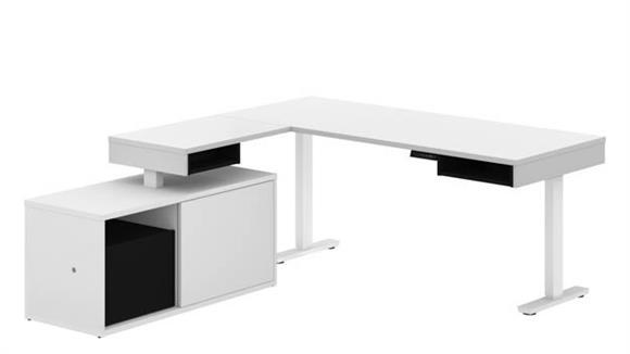 Adjustable Height Desks & Tables Bestar Office Furniture Height Adjustable L-Desk