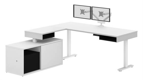 Adjustable Height Desks & Tables Bestar Office Furniture Height Adjustable L-Desk with Dual Monitor Arm