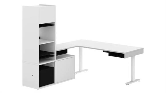 Adjustable Height Desks & Tables Bestar Office Furniture Height Adjustable L-Desk with Storage Tower