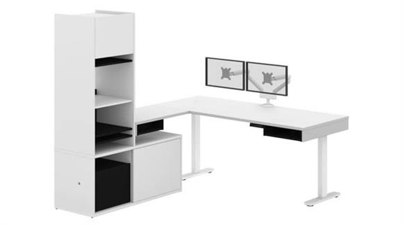 Adjustable Height Desks & Tables Bestar Office Furniture Height Adjustable L-Desk with Storage Tower & Dual Monitor Arm