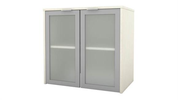 """Hutches Bestar Office Furniture 30"""" W Hutch with Frosted Glass Doors"""