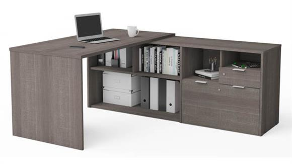L Shaped Desks Bestar Office Furniture L-Desk with Two Drawers