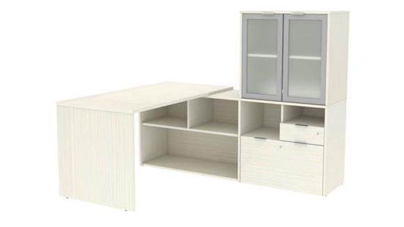 """L Shaped Desks Bestar Office Furniture 72""""W L-Shaped Desk with Frosted Glass Doors Hutch"""