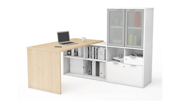 L Shaped Desks Bestar Office Furniture L-Desk with Frosted Glass Door Hutch