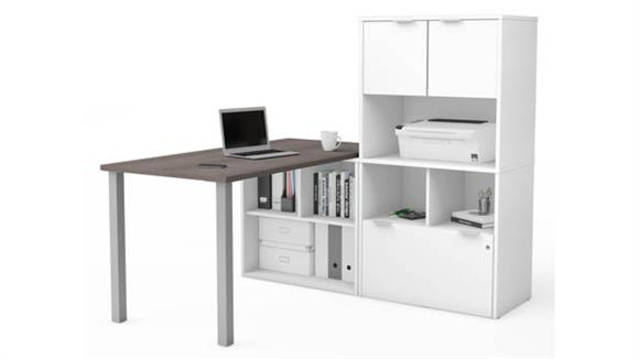 L Shaped Desks Bestar Office Furniture L-Desk with Hutch