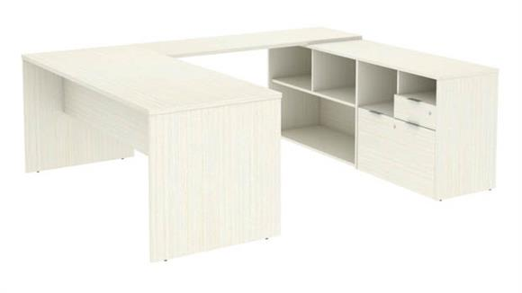 "U Shaped Desks Bestar Office Furniture 72""W U-Shaped Executive Desk with 2 Drawers"