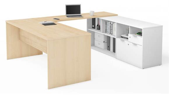 U Shaped Desks Bestar Office Furniture U-Desk with Two Drawers