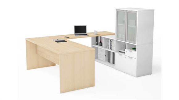 U Shaped Desks Bestar Office Furniture U-Desk with Frosted Glass Door Hutch