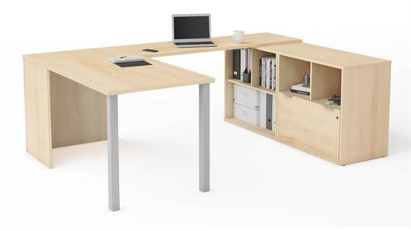 U Shaped Desks Bestar Office Furniture U-Desk with One File Drawer