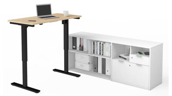 Adjustable Height Tables Bestar Office Furniture Height Adjustable L-Desk