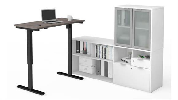 Adjustable Height Tables Bestar Office Furniture Height Adjustable L-Desk with Frosted Glass Door Hutch