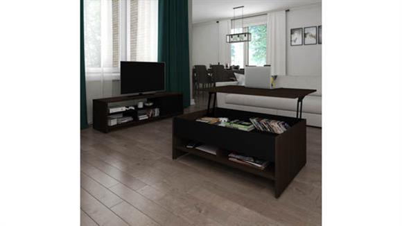 TV Stands Bestar Office Furniture 2-Piece Lift-Top Storage Coffee Table and TV Stand Set