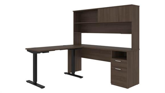 """Adjustable Height Desks & Tables Bestar Office Furniture 48""""W Standing Desk and 72""""W Credenza with Hutch"""